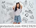 asian, doodle, female 49423920