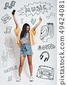 asian, headphones, illustration 49424081