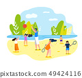 Summer Sports Games on Beach for Whole Family. 49424116
