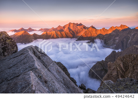 Mountains with Inversion at Sunset 49424642