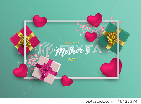 Mothers Day card of pink decoration for mom gift 49425374