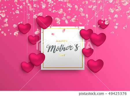 Mothers Day card with pink hearts and petals 49425376