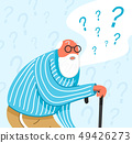 Thinking old man in sleepwear. Thoughtful people understand the problem. Pensive grandfather find 49426273
