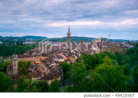 Aerial view of the Bern old town with the Aare 49428987
