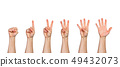 Five male hands rasie up in fist and pointing 49432073