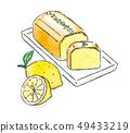 Lemon cake watercolor 49433219