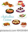 Australian cuisine meat and fish dishes, desserts 49436484