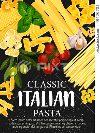 Spaghetti pasta and Italian macaroni with spices 49436703