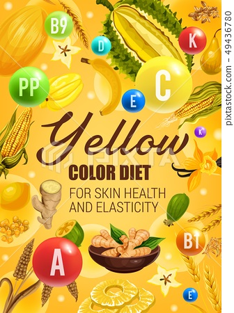 Color diet yeallow fruits, vegetables and cereals 49436780