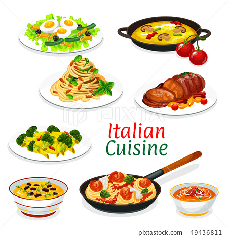 Italian pasta with sauces, meat and fish dishes 49436811