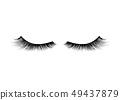 Black realistic detailed eyelashes on white 49437879
