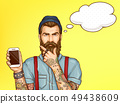 Hipster man showing mobile phone cartoon vector 49438609