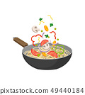 Pan with noodles on white background. Wok concept. 49440184