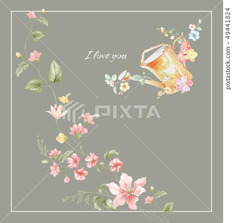 小清新水彩手繪花卉圖案 49441824