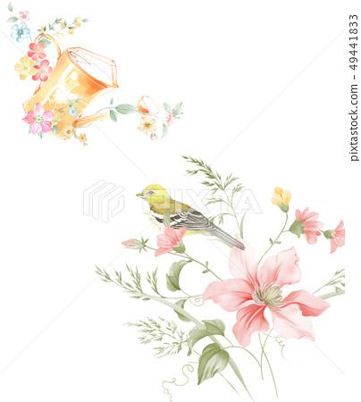 小清新水彩手繪花卉圖案 49441833