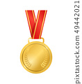 Realistic Detailed 3d Champion Gold Medal Empty Template. Vector 49442021
