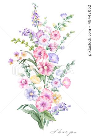 色彩豐富的手繪水彩花束 49442062