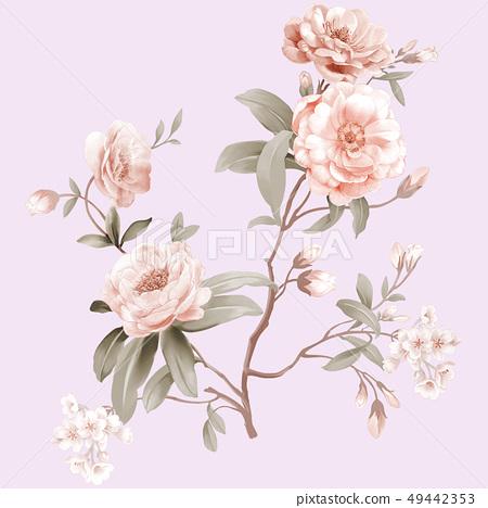 色彩柔和的山茶花和水彩花朵 49442353