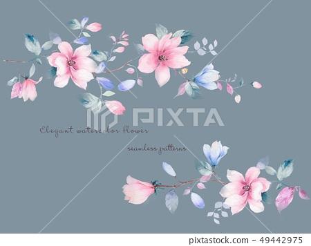 優雅美麗的玉蘭花和水彩清新小花 49442975