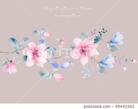 優雅美麗的玉蘭花和水彩清新小花 49442982