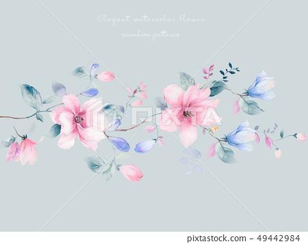 우아하고 아름다운 목련 꽃과 수채화 신선한 꽃 49442984
