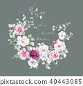 邀請卡設計和手繪水彩小花 49443085