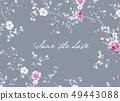 邀請卡設計和手繪水彩小花 49443088