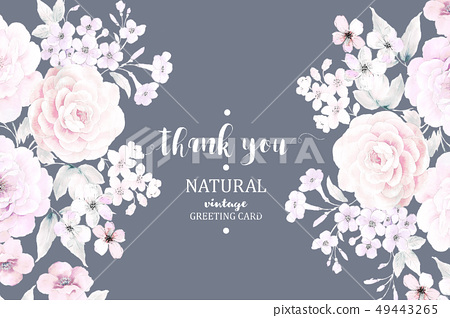 美麗的水彩花卉和邀請卡設計 49443265