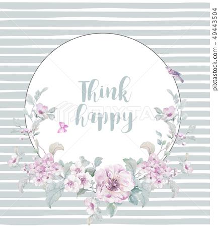 美麗的水彩花和賀卡設計 49443504