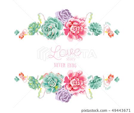 色彩豐富的手繪多肉植物和邀請卡設計 49443671