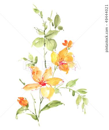 盛開的玉蘭花和手繪圖案設計 49444021