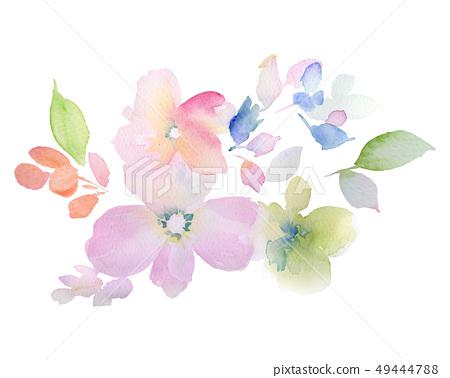 寫意水彩花卉和邀請卡設計 49444788