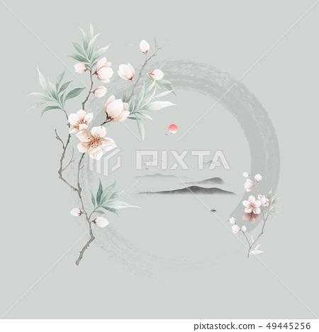 色彩柔和的意境水彩花卉 49445256