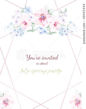 水彩花卉邀請卡設計 49445444