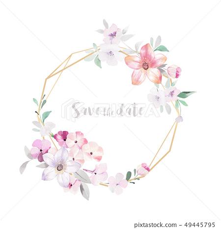 色彩豐富的水彩小花和邀請卡設計 49445795