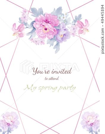 意境水彩花卉和邀請卡設計 49445894