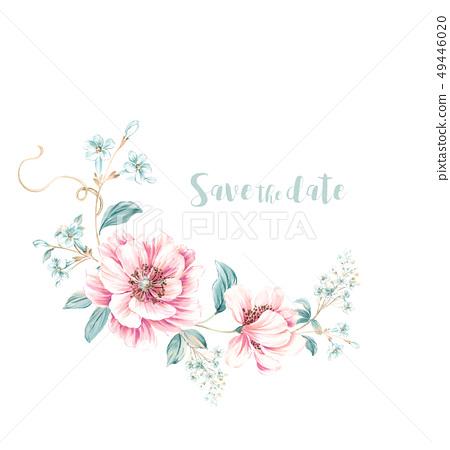 美麗的水彩花卉設計 49446020