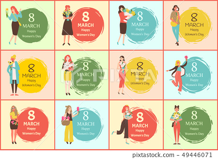 International Womens Day, Girl and Flowers Vector 49446071