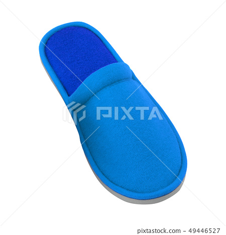 blue textile slippers on white background 49446527