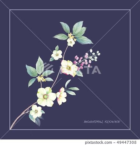 優雅美麗的水彩花卉圖案 49447308