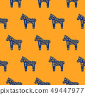 Horse silhouette seamless pattern with floral decorative texture blue and orange colored. 49447977