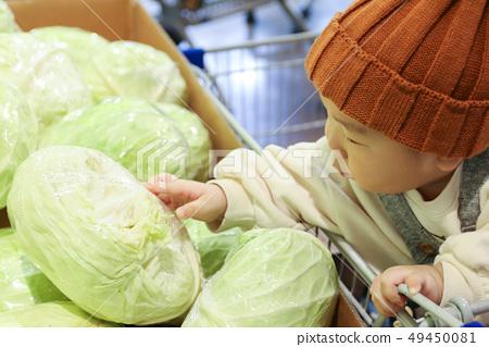 쇼핑중인 아기 (대형마트 야채 코너 양배추) 49450081