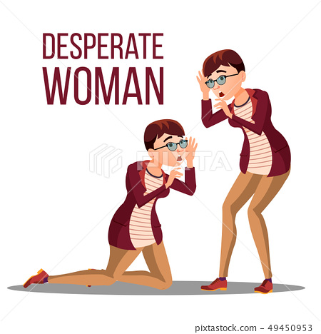 Desperate Woman Vector. Stress Desperate Person. Woman Girl Scream. Anger, Shok. Illustration 49450953