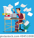 Overloaded Manager Concept. Overloaded Businessman Worker. Vector. Sad Person Employee. Overworked 49451008