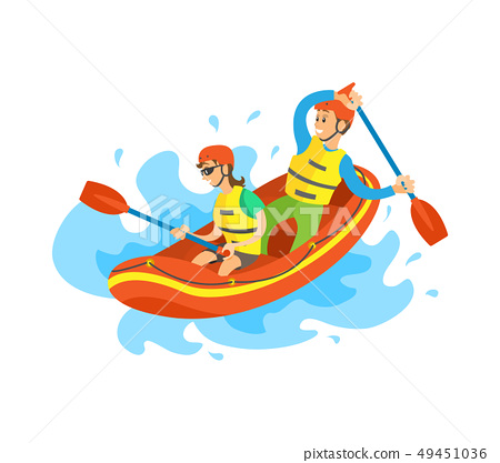 Extreme Tourism, Rubber Boat, Rafting Sport Vector 49451036