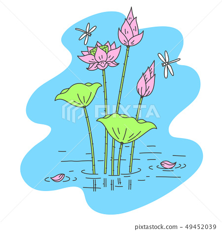 simple outline Lotus flower with dragonfly 49452039