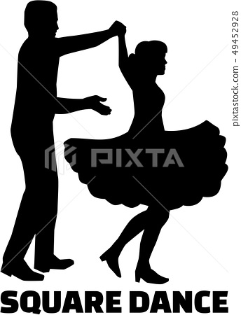 Square dance silhouette with word 49452928