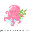 Octopus cartoon style baby character  49453298