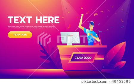 Vector illustration in modern flat linear style - cybersport tournament concept - man playing online 49455399