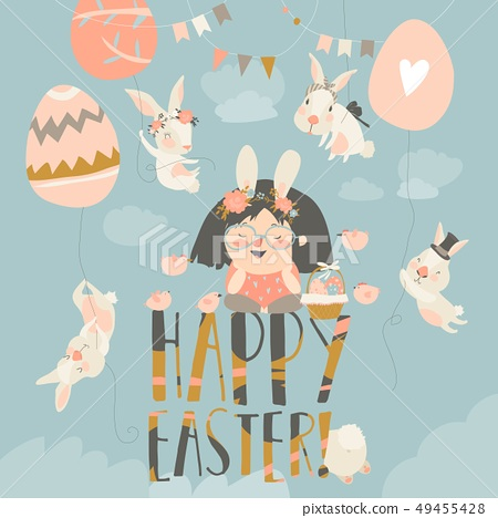 Cute little girl with Easter bunnies. Happy Easter 49455428